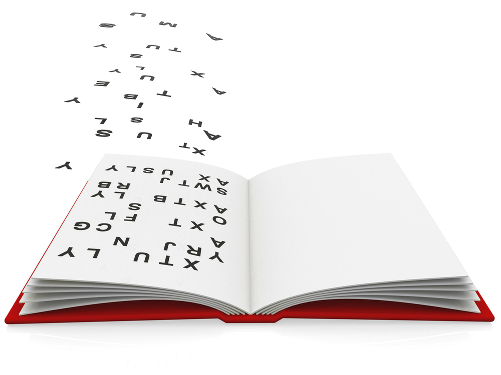 3D open book with fonts flying the pages - isolated over white
