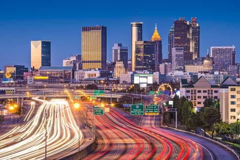Atlanta, Georgia, USA downtown over the interstate highway.