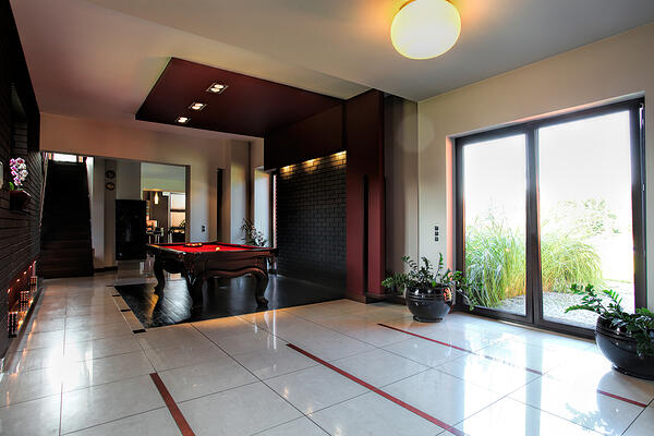Billard table in a corridor of modern house