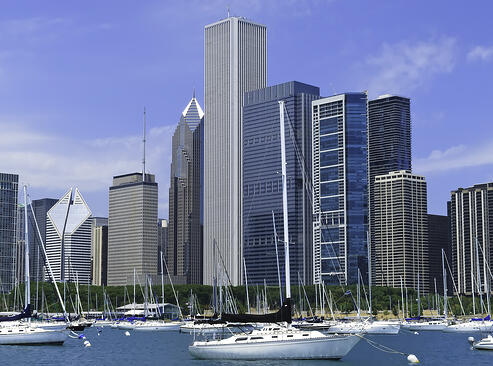 Boaters view of Chicago skyline in summer-1