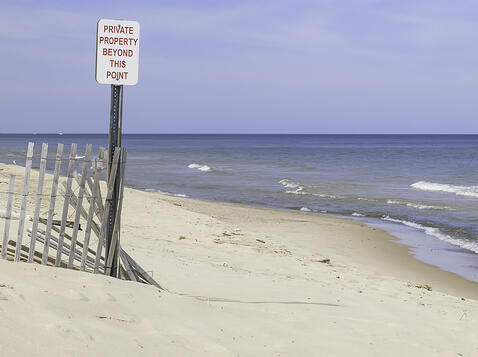 End of a public beach along Lake Michigan