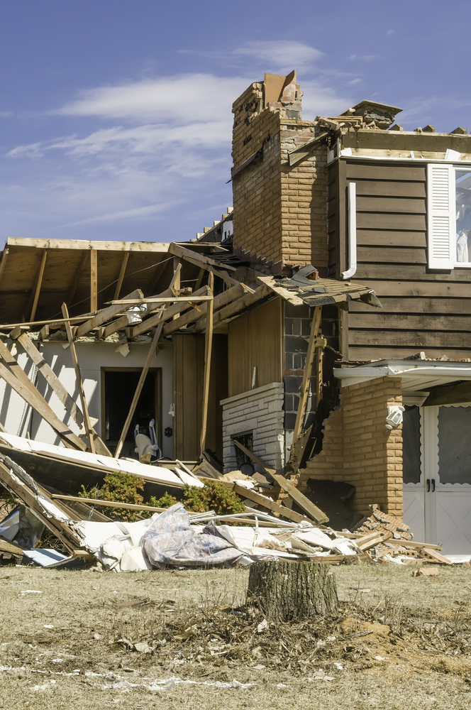 Severe storm damage Part of a single-family two-story house hit by a tornado in central Illinois, USA