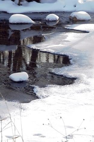Snow-covered rocks in Minnesota