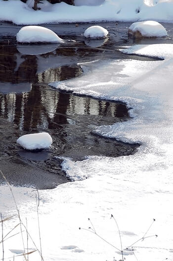Snow-covered rocks in partly frozen creek