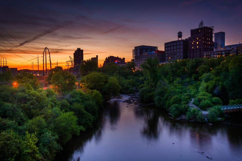 Sunset over the Mississippi River and Marcy-Holmes, in Minneapolis, Minnesota.