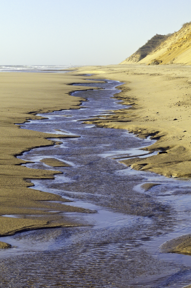 Tidal channel along sandy beach after sunrise on Cape Cod, Massachusetts