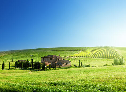 Tuscany landscape with typical farm house-1